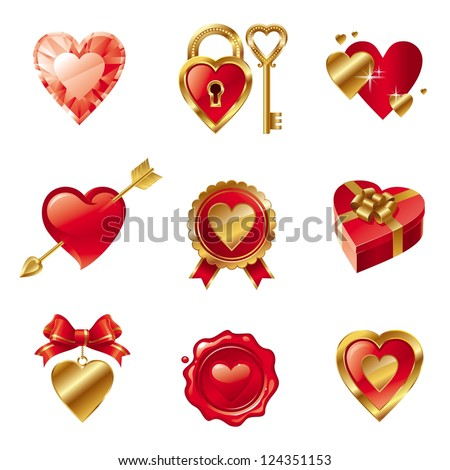 Set with Valentines signs and symbols