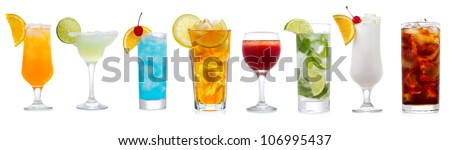 set with various cocktails on white background