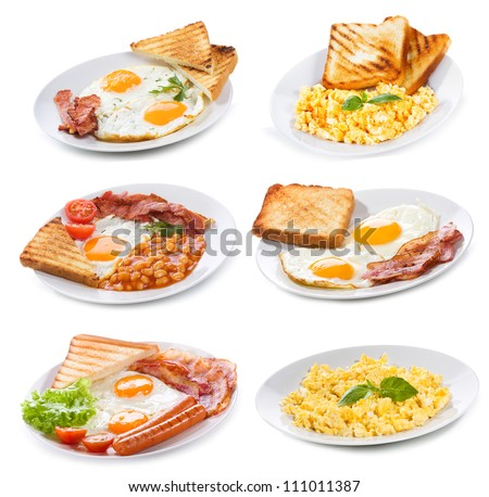 set with various plates of fried and scrambled eggs on white background