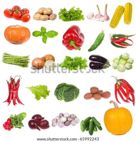 set with vegetables on white background