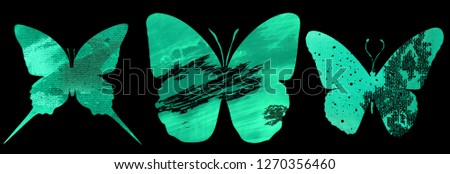 Set with watercolor butterflies with prints