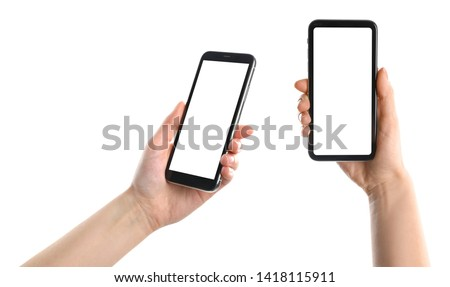 Set with women holding smartphones on white background, closeup of hands. Space for text