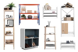 Set with wooden shelving units and different items on white background