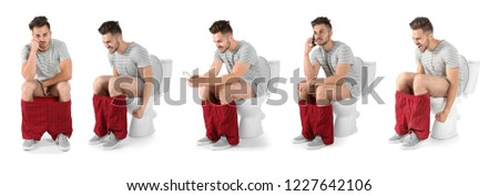 Set with young man using toilet bowl on white background