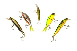 Set wobblers. Fishing lures. Isolated. White background.