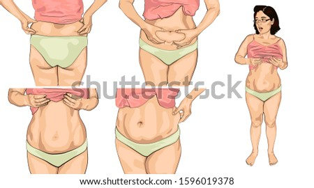set women with fat belly. young woman picked up a t-shirt and shows a fat belly.