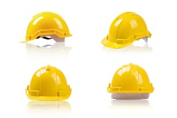 set yellow deferential helmet, construction tools for industrial safety isolated on white background