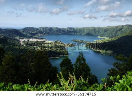 Sete Cidades lagoon, near Ponta Delgada, S. Miguel island Azores