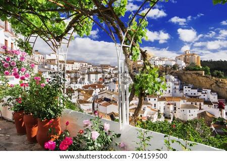 Shutterstock Setenil de las Bodegas village, one of the beautiful white villages (Pueblos Blancos) of Andalusia, Spain