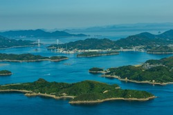 Seto Inland Sea National Park The view of the large and small islands from the top of Mt. Fudekage is the best view of the Seto Inland Sea.