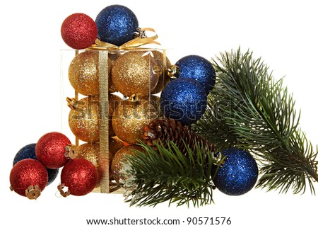 Sets flickering gold, red and dark blue spheres for an ornament of a Christmas tree and a fur-tree branch with cones isolated on a white background.