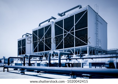 Sets of cooling towers in data center building. #1020042415