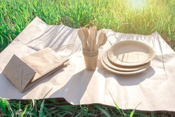sets of disposable biodegradable tableware on kraft paper in nature. biodegradable plates and glasses of paper and spoons, forks and knives made of wood. environmentally friendly modern plastic replac