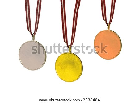 Sets of medals (Gold, Silver and Bronze). All are isolated on white, the center of each is blank for you to fill in.