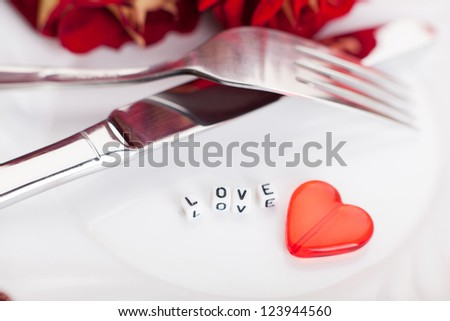 Setting for valentines day. Romantic table. Flower