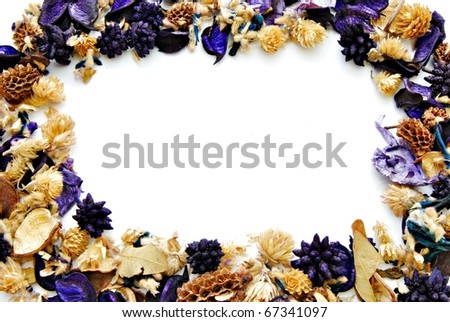 Setting of dried flowers