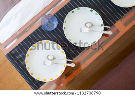 setting of tableware and cutlery #1132708790