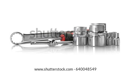 Setting of tools on white background