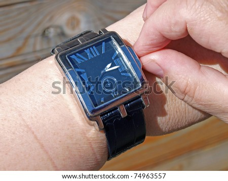 Setting time on big rectangle hand watch
