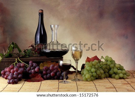 Setting with grape and wine