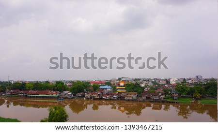 settlement - a residential area on the edge of the Siak river, the Siak river is the deepest river in Indonesia and becomes a trade route using ships. #1393467215