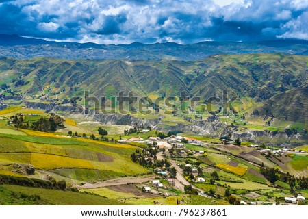 Settlement in the valley of the Andes mountains. Settlement in the mountains. Mountains of the Andes. Ecuador. Travel around Ecuador by car.