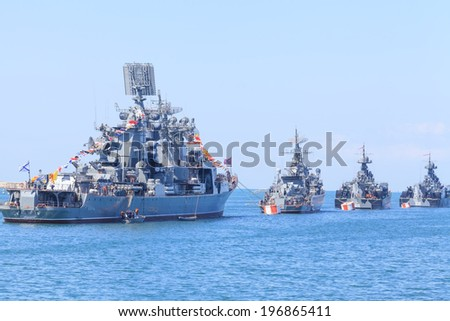 SEVASTOPOL, CRIMEA - MAY 7, 2014: Ships of Russian Navy Black Sea Fleet prepare for a Victory Day parade in Sevastopol with \