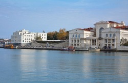 Sevastopol, Grafskaya pier, boats, ships, canals in the city, sea, ocean. The concept of active recreation, travel, cultural and historical tourism, health restoration.
