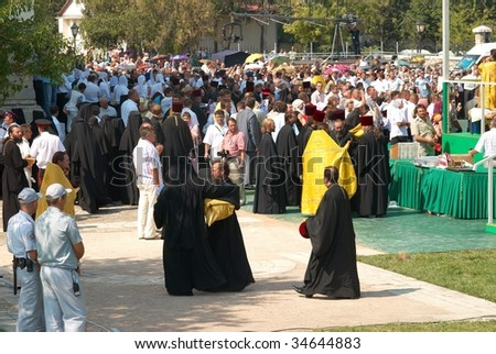 SEVASTOPOL, UKRAINE - AUGUST 2: Crowd gather to see His Holiness Kirill Patriarch of Moscow August 2, 2009 in Chersonese, Sevastopol, Ukraine.