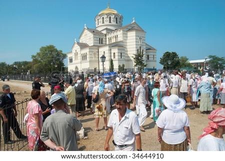 SEVASTOPOL, UKRAINE - AUGUST 2: Crowd gather to see His Holiness Kirill Patriarch of Moscow August 2, 2009 in Chersonese, Sevastopol, Ukraine.