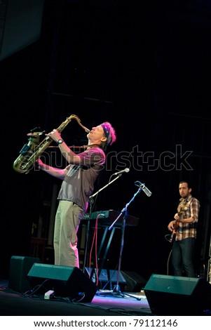 SEVASTOPOL, UKRAINE - JUNE 9: Bill Evans plays saxophone at the Marine Club on June 09, 2011 in Sevastopol, Ukraine.