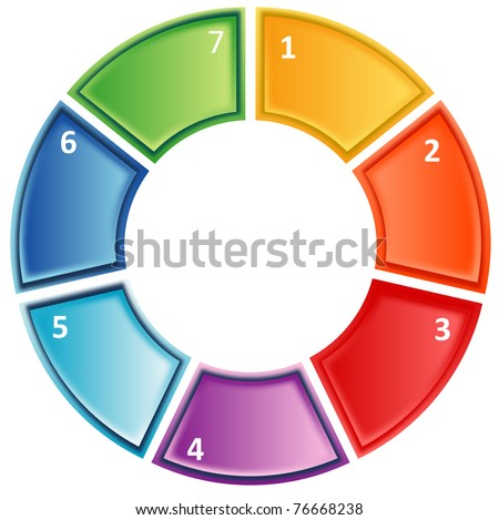 seven Blank numbered cycle process business diagram illustration