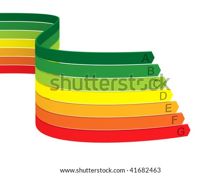 Seven color bands of energy classification on a white background