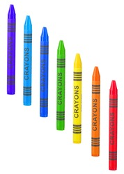 Seven colorful crayons in the colors of the rainbow isolated on white
