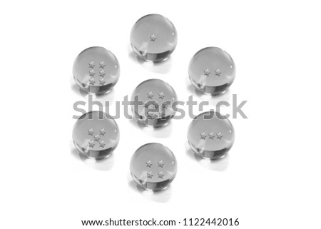 Stock Photo Seven Crystal Ball gray with star on a white background.Dragonball Z or Dragonball GT and Dragonball Super.
