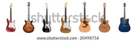 Seven different guitars for the price of one - stock photo