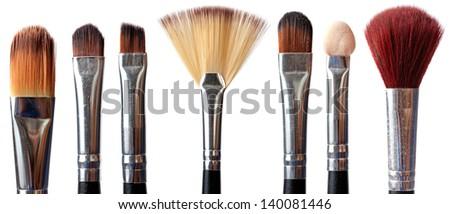 seven different make up brush on white - stock photo