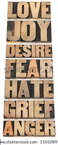 seven emotions - love, joy, desire, fear, hate, grief and anger - a collage of isolated words in letterpress wood type