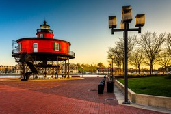 Seven Foot Knoll Lighthouse at sunset, at the Inner Harbor in Baltimore, Maryland.