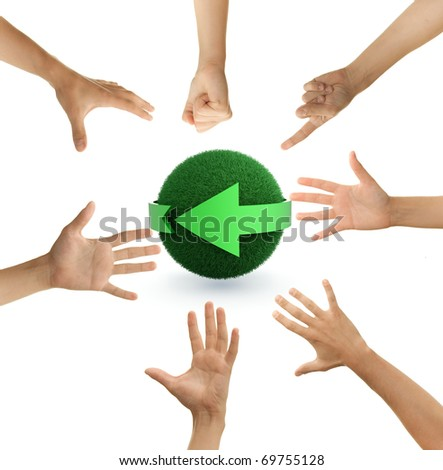 seven hands forming a complete circle, reaching for a