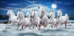 Seven horses force running out