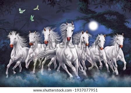Seven Horses running at night wall art Foto stock ©