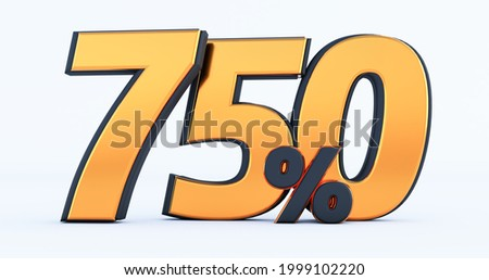seven hundred fifty 750% off on sale. Gold percent isolated on white background. 3d render of a Gold seven hundred fifty percent Foto stock ©
