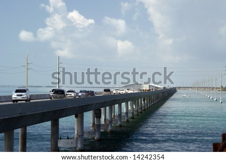 seven mile bridge florida keys between gulf of mexico and florida strait us route 1 the overseas highway - stock photo
