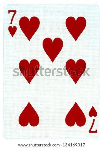 Seven of Hearts playing card, isolated on white background.