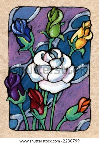 Seven of Roses, from my Tarot of the Roses