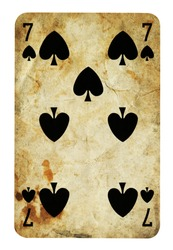 Seven of Spades Vintage playing card - isolated on white (clipping path included)