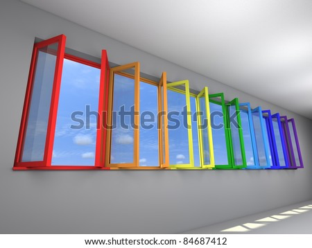 Seven opened windows with rainbow colors, view to sky