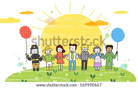 Seven people holding hands with a large sun beaming from behind them.