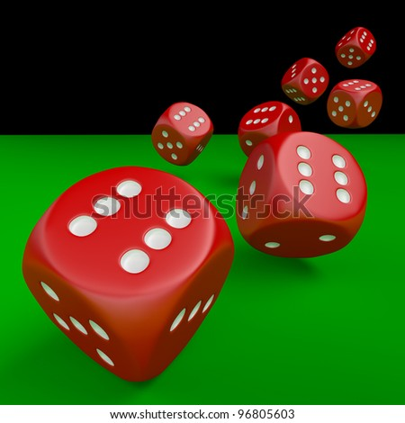 Seven red dice on green table isolated with clipping path